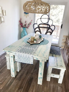 Turquoise & white rustic bohemian farmhouse wood dining table