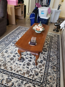 Solid Oak Expandable Coffee Table and 2 End Tables