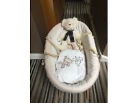 Baby Moses basket with stand and bedding