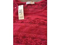 Red lace crop top from river island size 10 brand new with tags