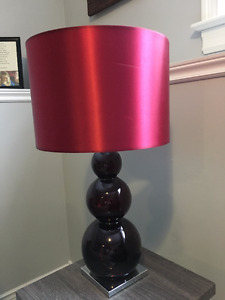 Red Table Lamp, Canvas and Accent Vases