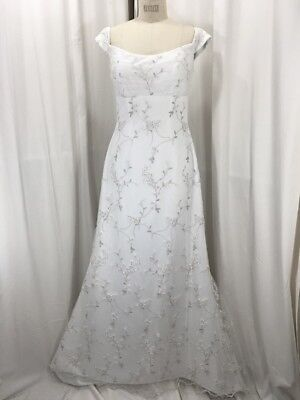 Vintage Inspired 1950's White Off Shoulder Wedding Dress w/Embroidered Lace