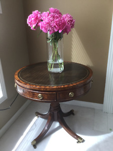 High Quality Antique Leather Drum Tables 2 of them! Gorgeous.