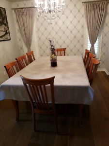 LARGE CUSTOM FAMILY DINING TABLE SEATS 16 COMES WITH 12 CHAIRS