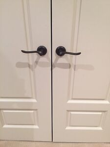 FIVE SETS OF PASSAGE DOOR HANDLES