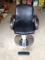 Black Leather Salon Chair with Hydrolics
