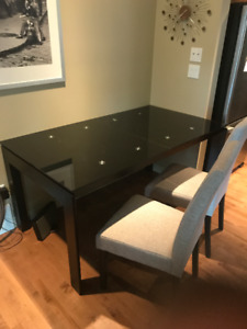 Large Glass Dining Room Table w 6 Chairs and Extendable Leaf