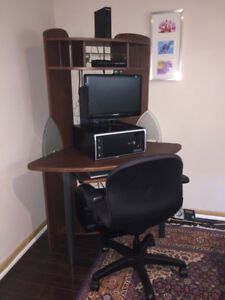 COMPUTER SET, DESK, CHAIR, AND PRINTER