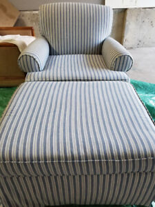 Sears Blue and White striped Chair with Ottoman