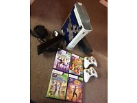 X box 360 , Kinect , 2x controllers , 4x Kinect games £70