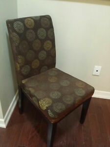 3 DINING CHAIRS & BLACK LEATHER OTTOMAN