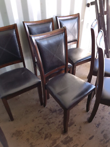 6 espresso leather chairs with wood trim