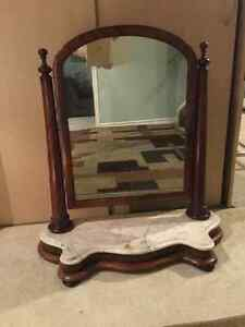 Antique Victorian dresser top mirror