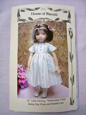 "13"" Effner Little Darling ""Wednesdays Child"" Doll Dress Pattern, Hooded Coat"