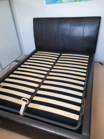 Brown Faux Leather Ottoman Double Bed