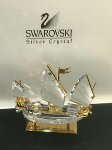 Swarovski Chinese Sail Ship Crystal Figurine New w/ Box Disconti