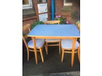 Vintage 1959/60s table and 3 chairs.