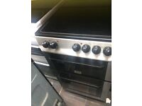 Stainless steel zanussi 50cm ceramic hub electric cooker grill & fan oven good condi with guarantee