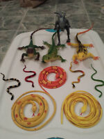 reptiles, wooden and plastic