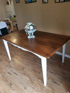 Retro modern refurbished kitchen table solid wood