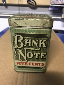 "VINTAGE ""BANK NOTE"" FIVE CENTS CIGAR TIN"