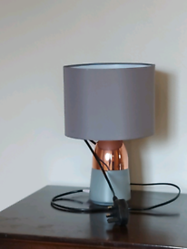 Grey and copper ceramic light and lampshade