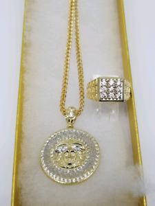 chaine franco jaune ou diamond cut en or 10kt + versace bague
