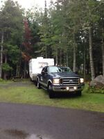 Moving travel trailers in the maritimes.