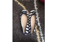 Blue and white striped ballet pumps size 6