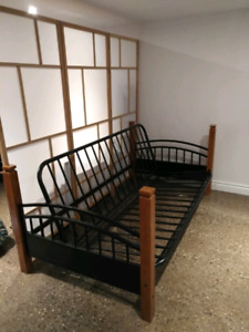 Double futon frame with single bed upper