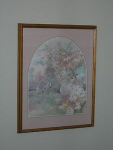 Abstract Floral Picture in gold wooden frame with triple matt. Kitchener / Waterloo Kitchener Area image 1
