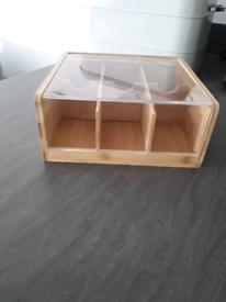 Tea box bamboo storage with lid