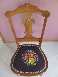 WOODEN ANTIQUE CHAIR WITH EMBROIDERED SEAT