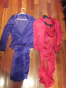 Purple or Red velvet pant suit, each set. Both sets for $30