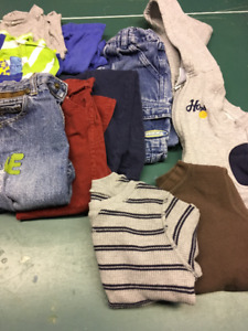 Boys size 24 months/2 T bag of clothes, fall jacket and shoes
