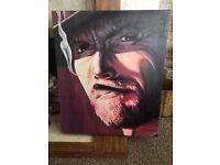 Hand painted original Clint Eastwood oil portrait