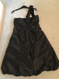 Black satin one shoulder strap dress