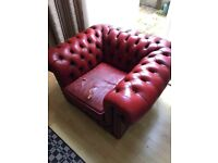 Ox-blood red leather Chesterfield armchair