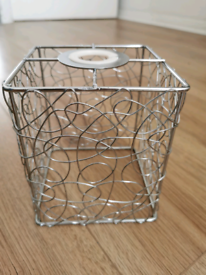 Light Fitting Easy Fit Square Silver Metal Light Lamp Shade 15cm