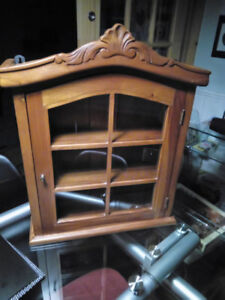 Antique wall curio cabinet for sale.