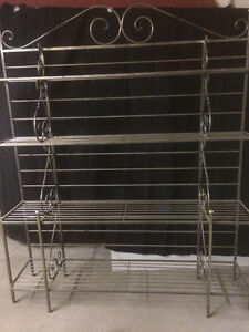Custom Made wrought-iron bakers rack with glass shelves.