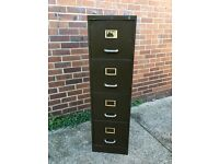 Lovely vintage olive green and brass filing cabinet