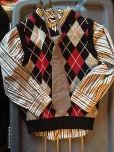 Dress Shirt, Vest and Tie Great for Pics or X-mas Size 6