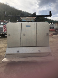 Heavy duty cab guard- tool box with chain holders