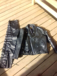 Leather Motor cycle jacket and pants