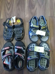 boy sandles, size one and two,four pairs, three new