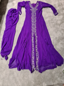 Purple asian long dress