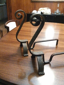 """antique old heavy metal brass """"hand hammered"""" andirons fire dog"""