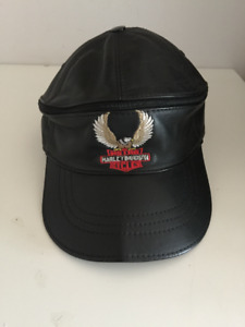 HARELY DAVIDSON, LEATHER HATS, CAPS, HAT, BLACK AND LIGHT BLUE C