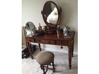 Mahogany Victorian vanity or desk and mirror